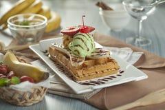 Waffle da banana Fotos de Stock Royalty Free