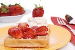 Waffle da morango Foto de Stock
