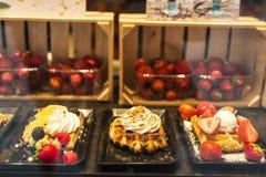 Waffle dans un magasin de bonbons à Bruges, Belgique Photo stock