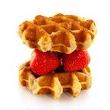 Waffle de Bélgica com fruta Imagens de Stock Royalty Free