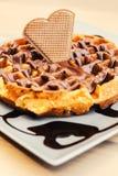 Waffle dessert with chocolate and hazelnut cream Stock Photos