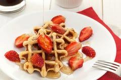 Waffle dessert with honey Royalty Free Stock Image