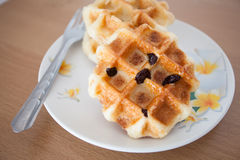 Waffle in dish Royalty Free Stock Images