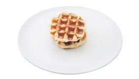 Waffle on dish Stock Images