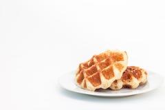 Waffle on dish Stock Image