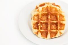 Waffle on dish Royalty Free Stock Image
