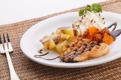 Waffle do coração Fotografia de Stock