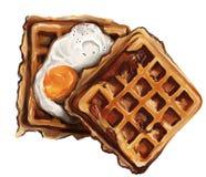 Waffle e café da manhã dos ovos dos campeões ilustração stock