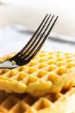 Waffle e forquilha Fotografia de Stock Royalty Free