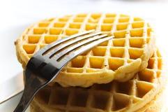 Waffle e forquilha Foto de Stock Royalty Free