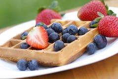 Waffle e frutos Foto de Stock