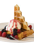 Waffle e gelado - isolado Fotos de Stock