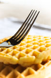 Waffle and fork Royalty Free Stock Photography
