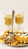 Waffle fork and cappuccino Stock Photo