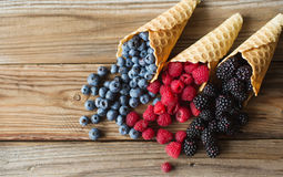 Waffle with fresh berries. Berries. Raspberries, blackberries, blueberries in waffle cones Royalty Free Stock Photos