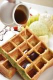 Waffle. Fresh and delicious waffle with honey royalty free stock photos