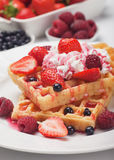 Waffle with fresh fruit and cream Royalty Free Stock Images
