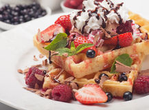Waffle with fresh fruit and cream Stock Images