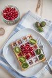 Waffle with fresh fruit Stock Photo