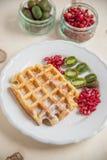 Waffle with fresh fruit Royalty Free Stock Photo