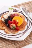 Waffle with fresh fruit Royalty Free Stock Photography