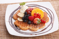 Waffle with fresh fruit Stock Image