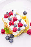 Waffle with fruit Stock Photo