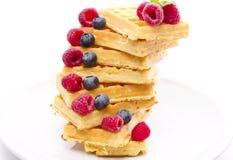 Waffle with fruit Stock Photos