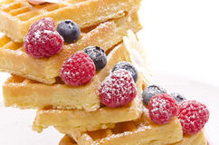 Waffle with fruit Stock Image
