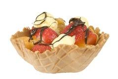 Waffle fruit basket drizzled with chocolate Royalty Free Stock Image