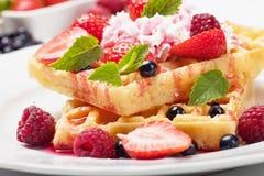 Waffle with fruit and whipped cream. Waffle cake with fresh berry fruit and whipped cream Stock Photography