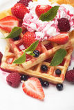 Waffle with fruit and whipped cream Royalty Free Stock Image