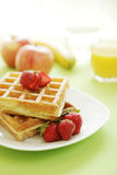 Waffle and fruits Stock Photos