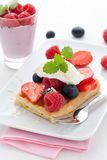 Waffle with fruits Royalty Free Stock Photo