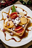 Waffle with fruits Royalty Free Stock Images