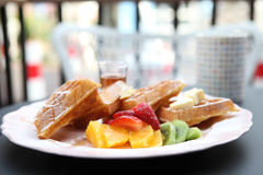 Waffle with fruits Royalty Free Stock Photography