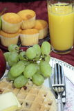 Waffle, Grapes and Juice royalty free stock photos