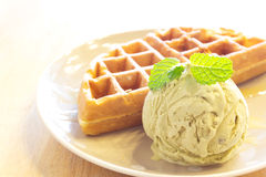 Waffle with green tea ice cream Royalty Free Stock Images
