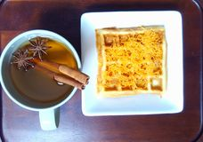 Waffle and herbal tea Royalty Free Stock Photography