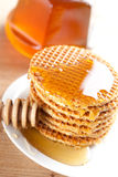 Waffle with honey Stock Image