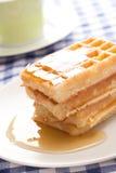 Waffle with honey Royalty Free Stock Image