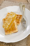 Waffle with honey on a plate Stock Photos