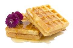 Waffle, honey, violet Stock Images