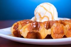 Waffle and ice cream Stock Photos