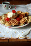 Waffle and ice-cream Royalty Free Stock Photos