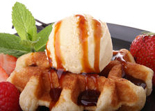 Waffle with ice cream Stock Image