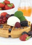 Waffle with ice cream Stock Photo