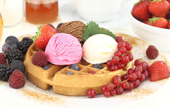 Waffle and ice cream Stock Image