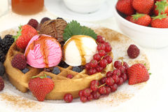 Waffle with ice cream Royalty Free Stock Image