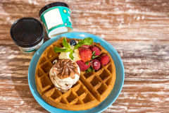 Waffle with ice cream Royalty Free Stock Photography